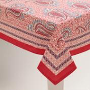 Coral Paisley Escala Tablecloth