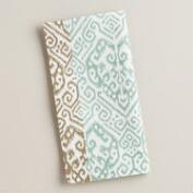Aqua and Taupe Ikat Napkins, Set of 4