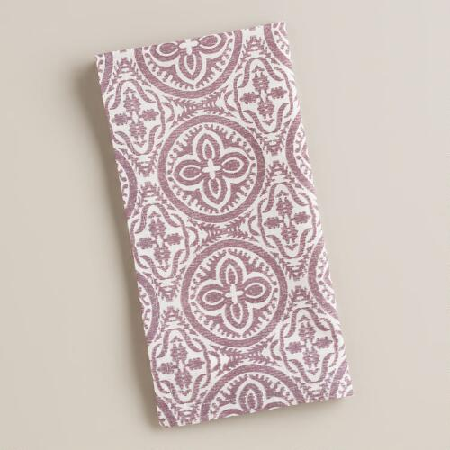 Purple Geo Penelope Napkins, Set of 4