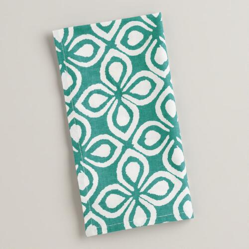 Aqua Geo Floral Napkins, Set of 4