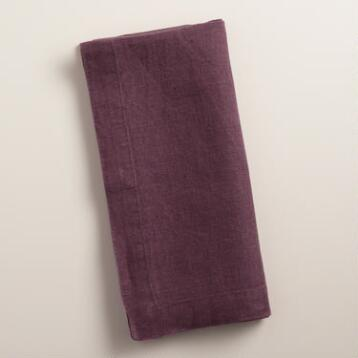 Plum Purple 100% Linen Napkins, Set of 4