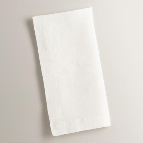 Ivory 100% Linen Napkins, Set of 4
