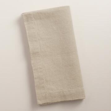 Natural 100% Linen Napkins, Set of 4