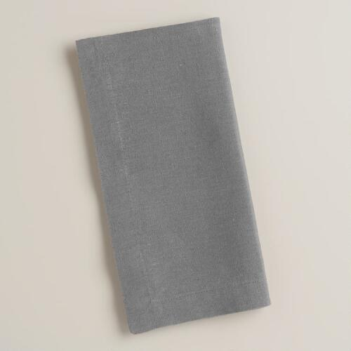 Gray 100% Linen Napkins, Set of 4