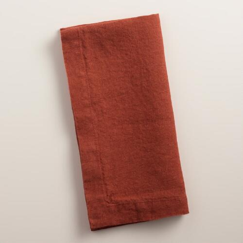 Rust Orange 100% Linen Napkins, Set of 4