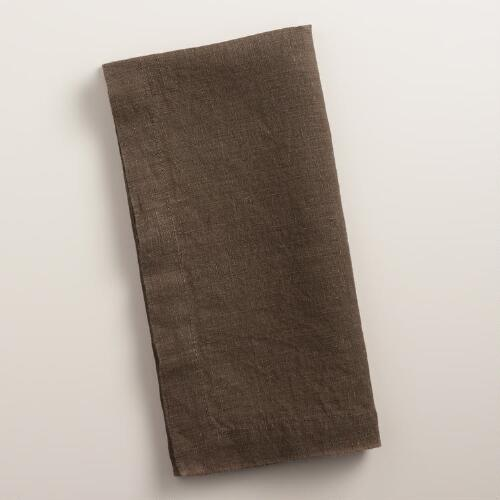 Chocolate Brown 100% Linen Napkins, Set of 4