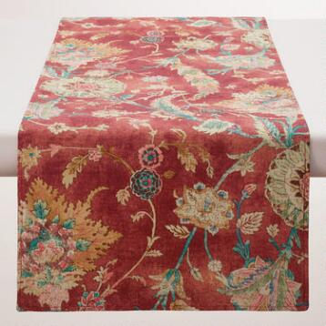 Red Floral Genevieve Table Runner