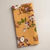 Golden Yellow Floral Grace Napkins, Set of 4