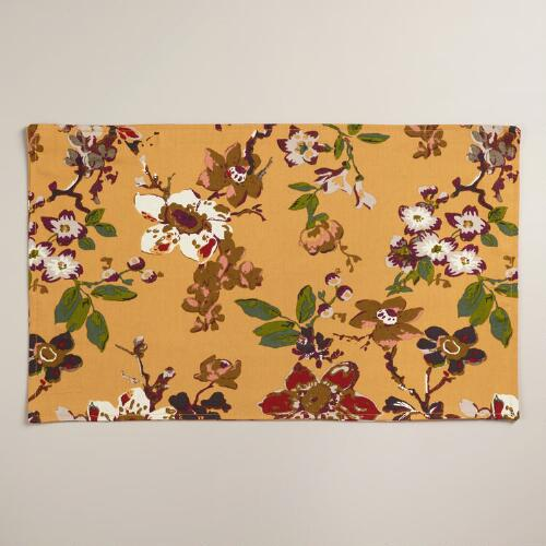 Golden Yellow Floral Grace Placemats, Set of 4