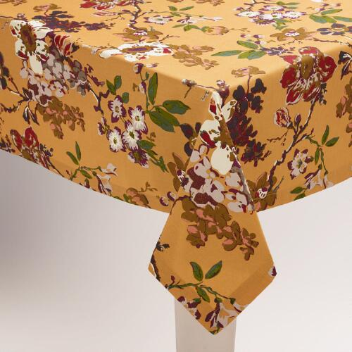 Golden Yellow Floral Grace Tablecloth