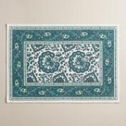 Indigo Blue Floral Baroque Placemats, Set of 4