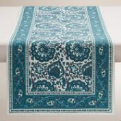 Indigo Blue Floral Baroque Table Runner