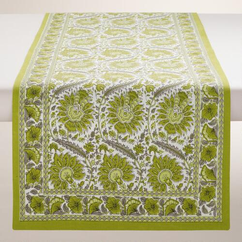 Green Helena Table Runner