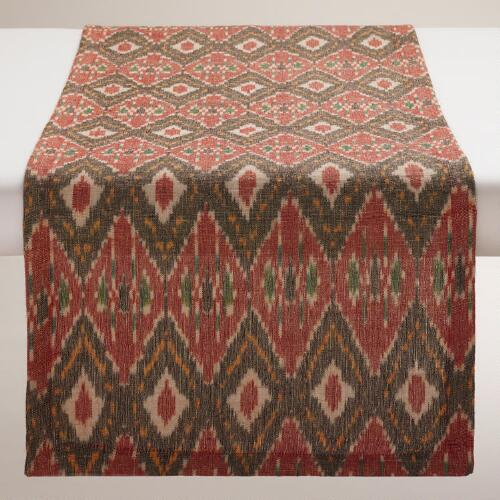 Black and Red Woven Ikat Table Runner