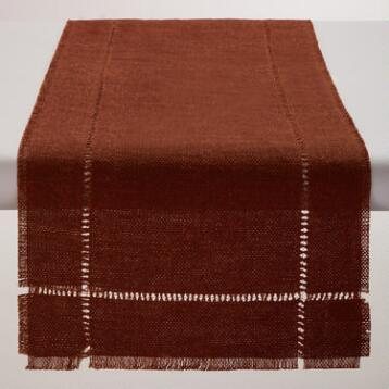 Rust Orange Washed Jute Table Runner