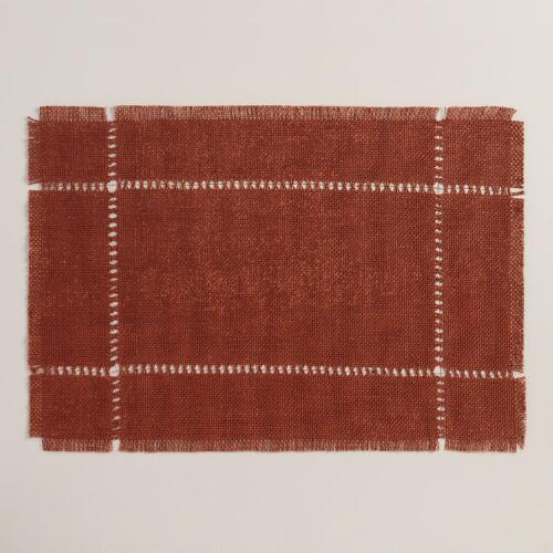 Rust Orange Washed Jute Placemats, Set of 4