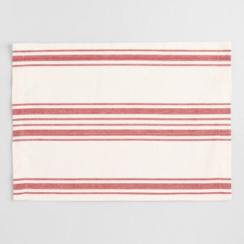 Red Villa Stripe Placemats, Set of 4