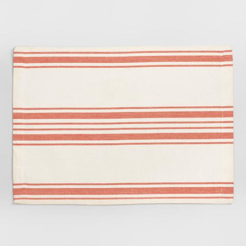 Orange Villa Stripe Placemats, Set of 4