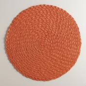 Flame Orange Round Braided Placemats, Set of 4