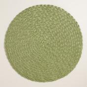 Iguana Green Round Braided Placemats, Set of 4