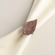 Copper Leaf Napkin Ring, Set of 4