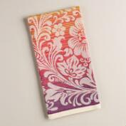 Coral and Plum Ombre Paisley Floral Jacquard Kitchen Towel