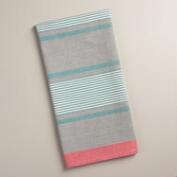 Gray, White and Aqua Striped Loire Kitchen Towels, Set of 2