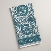 Indigo Blue Floral Baroque Kitchen Towels, Set of 2
