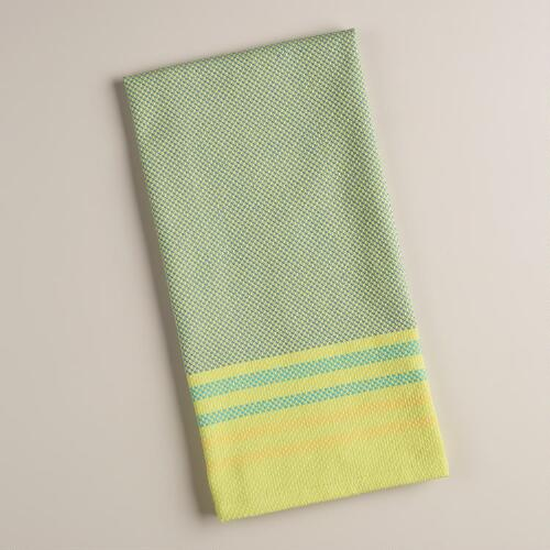 Aqua and Green Stripe Textured Kitchen Towels, Set of 2