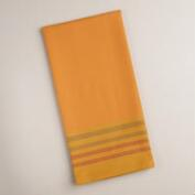 Yellow and Orange Stripe Textured Kitchen Towels, Set of 2