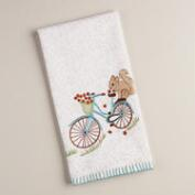 Embroidered Squirrel on Bike Kitchen Towel