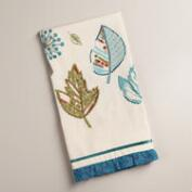 Embroidered Green and Aqua Leaves Kitchen Towel