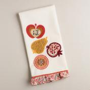 Embroidered Harvest Fruit Kitchen Towel