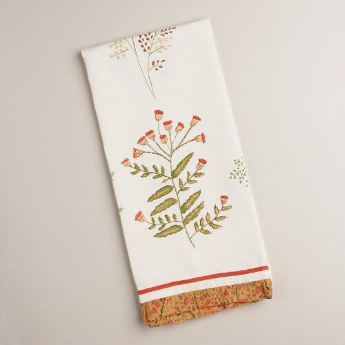 Embroidered Botanicals Kitchen Towel