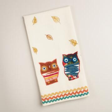 Embroidered Owls and Leaves Kitchen Towel