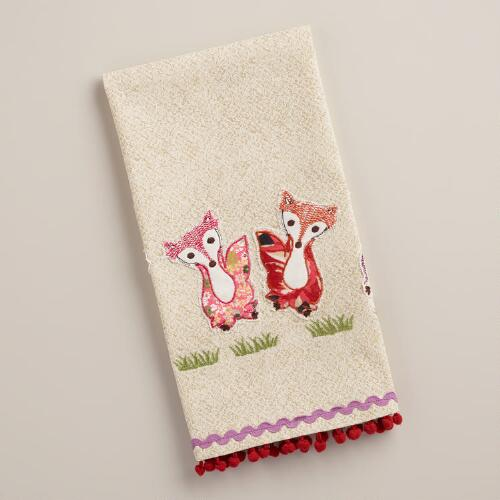 Embroidered Foxes Kitchen Towel