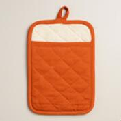 Flame Orange Gourmet Classic Terry Mitts, Set of 2