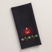 Embroidered Spider Waffle-Weave Kitchen Towel