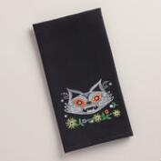 Embroidered Cat Waffle-Weave Kitchen Towel