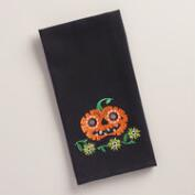 Embroidered Pumpkin Waffle-Weave Kitchen Towel