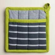 Blue Stripe Chambray Potholders with Green Border, Set of 2