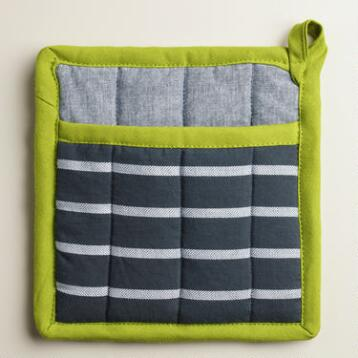 Blue Stripe Chambray Potholders Set of 2