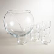 Glass Punch Bowl 10-Piece Set