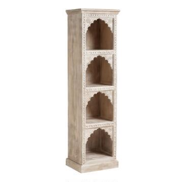 Ivory Hand-Carved Wood Bookshelf