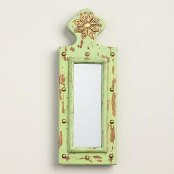 Mini Green Carved Wood Mirror