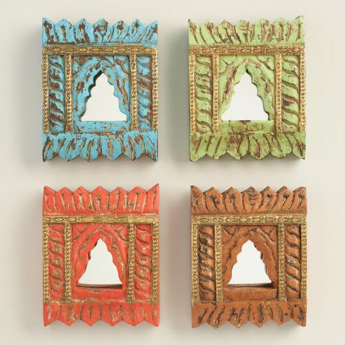 Mini Carved Wood Mirrors, Set of 4