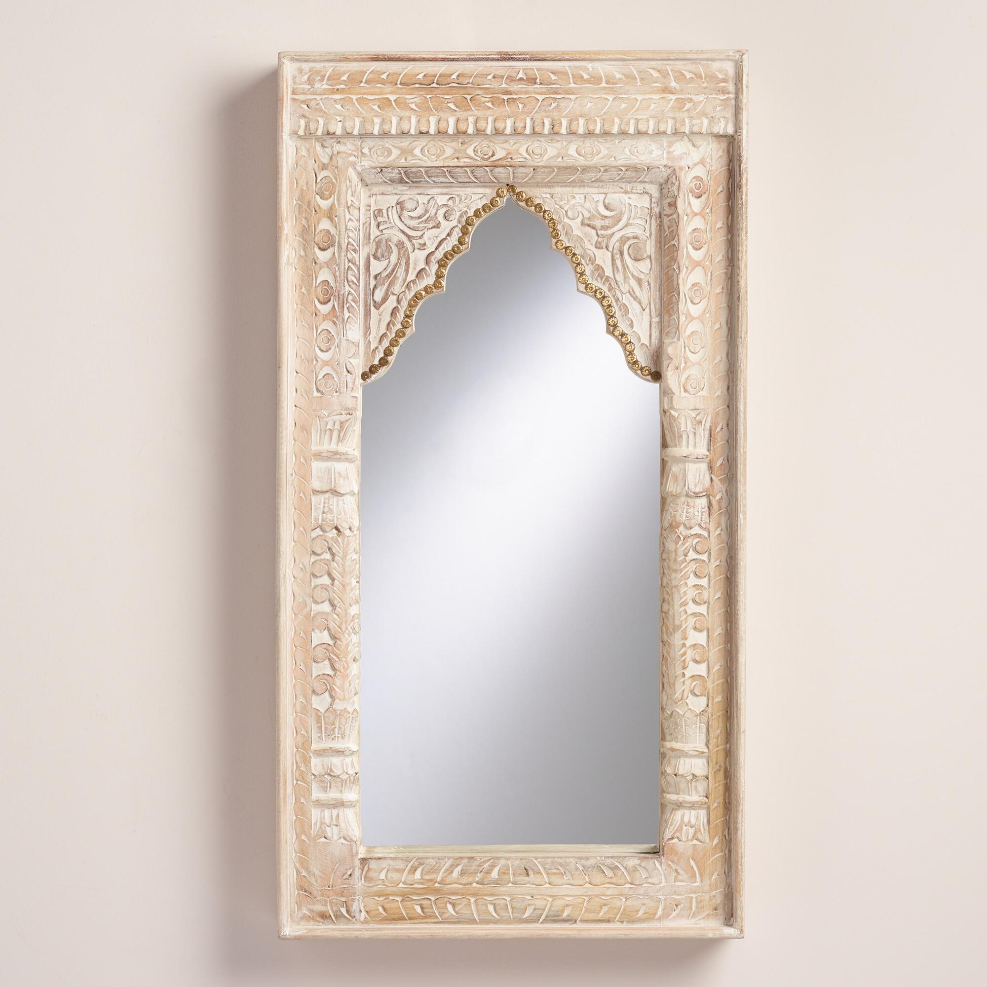 Oversized ivory carved wood mirror world market for Oversized mirror