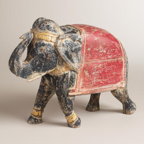 Rustic Carved Wood Elephant