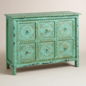 Blue Carved 6-Drawer Cabinet