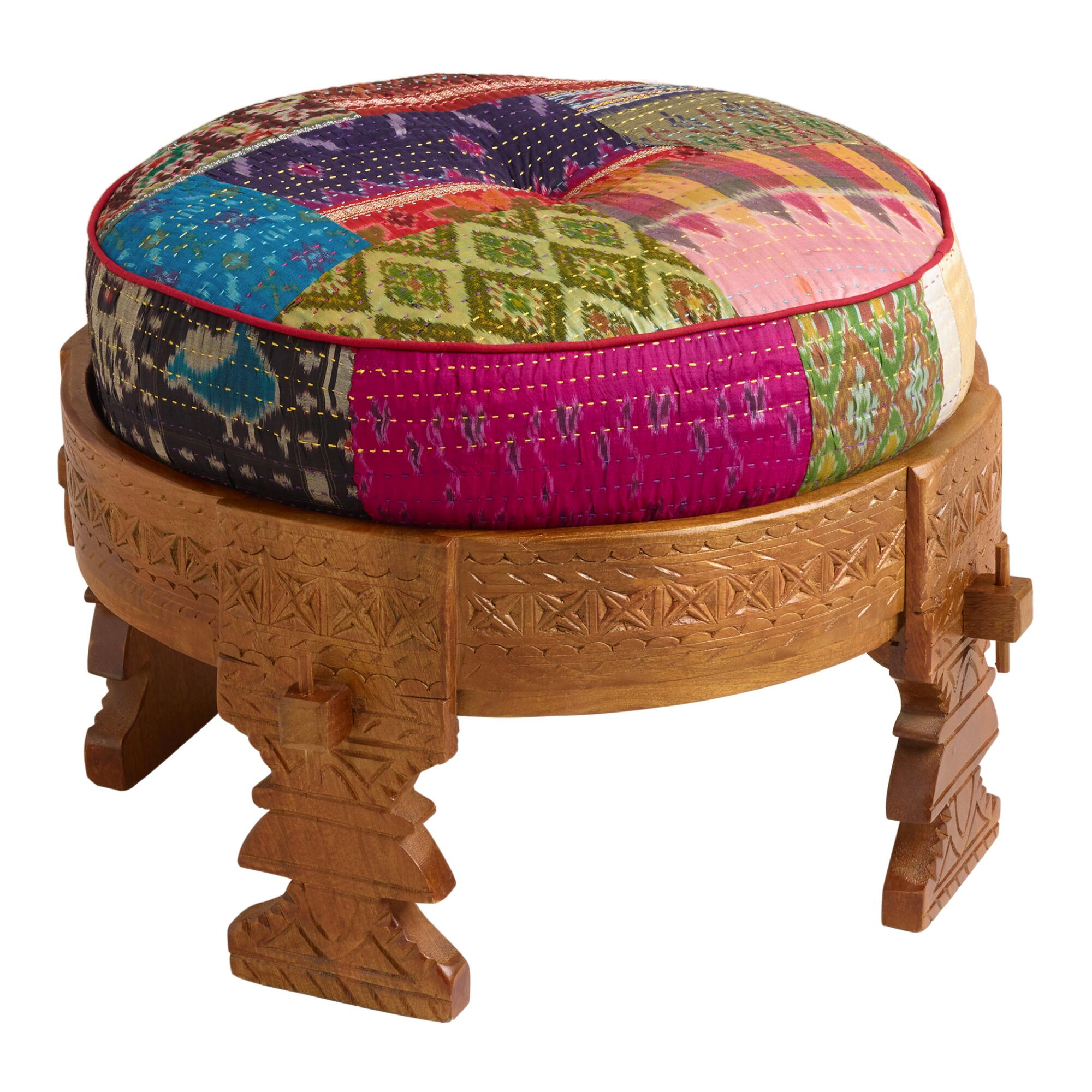 World Bazar: Bajot Stool With Sari Pouf